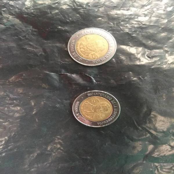 Monedas bicentenario de la independencia.