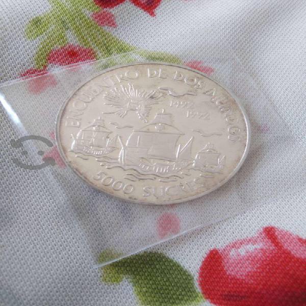 Monedas de plata encuentro de dos mundos