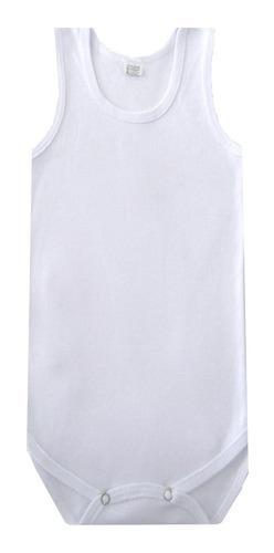 Pañalero sin manga blanco para bebé tallas 12, 18 y 24
