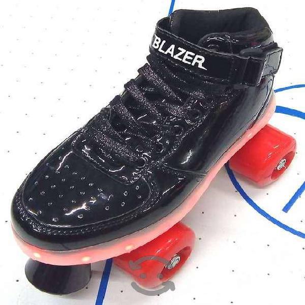 Patines blazer roller negro c/luz en plataforma