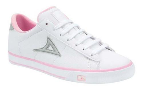 Tenis casual de choclo mujer color blanco rosa -ac67bb