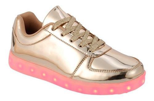 Tenis luces led recargable zapato juvenil usb varios colores