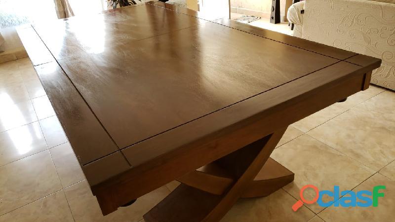 Mesa de billar patas cruzadas en madera de banak