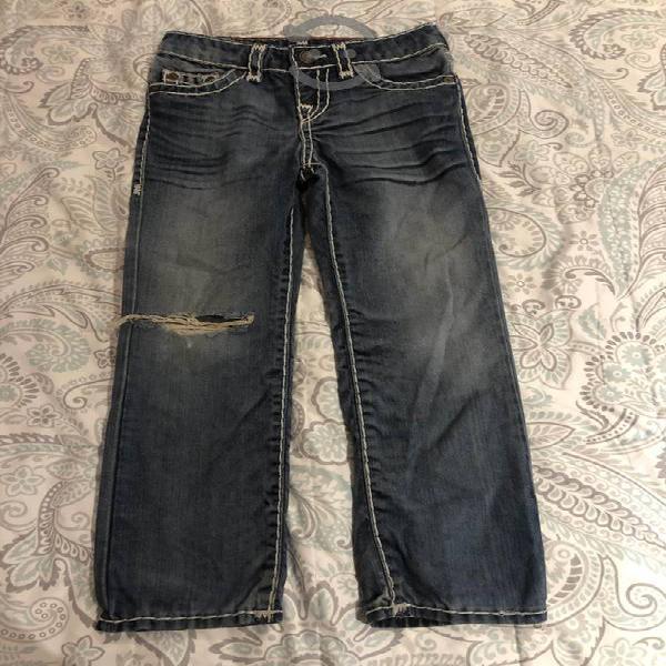 Jeans true religion de niño con costuras blancas