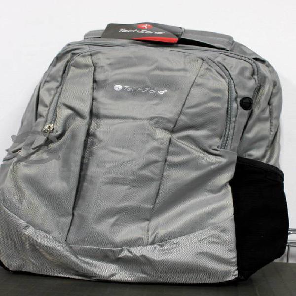 "Mochila p/laptop techzone 15,5"" gris y negra 15 pz"