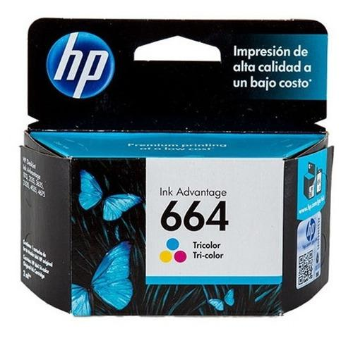 Tinta hp 664 f6v28al color tricolor