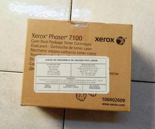 Toner xerox phaser 7100 106r02609 cyan pack dual facturado