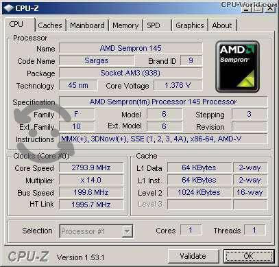 Procesador sempron 145 2.8ghz opción overclock