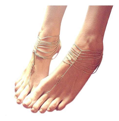 10pcs niñas borla descalzo sandalia pie joyería tobillera
