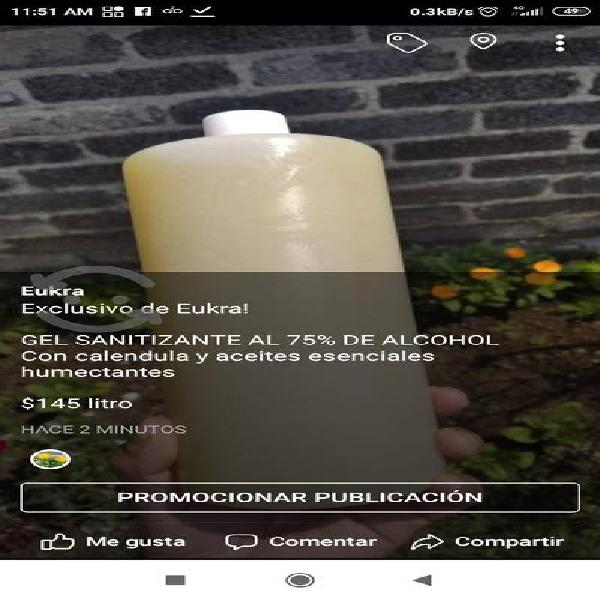 Gel base alcohol 75% con calendula humectante