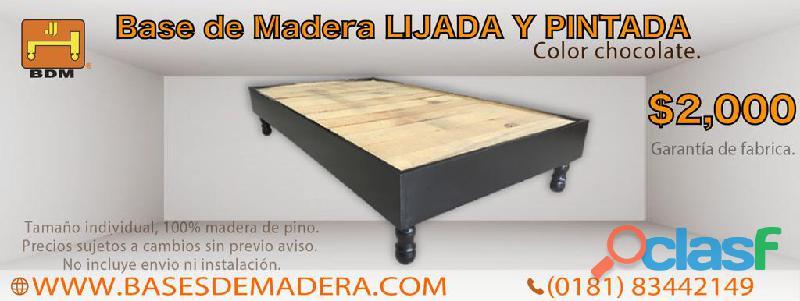 Cama de madera individual en monterrey