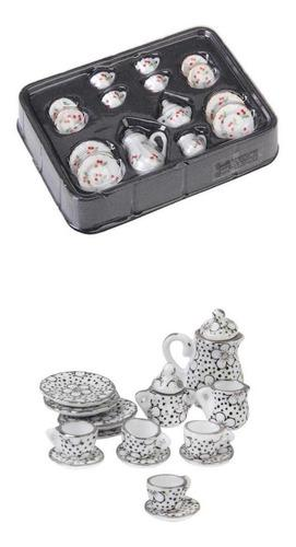30 piezas 1:12 miniatura juego de té de porcelana accesorio