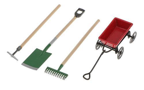 Carretilla c/herramientas d/jard?n miniatura p/casa d/mu?eca