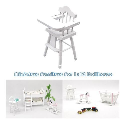 Casa de muñecas muebles para bebé, silla alta en miniatura