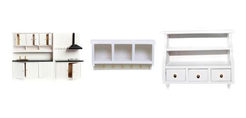 Estufa y muebles de cocina miniatura 1/12 p/casa de mu?ecas