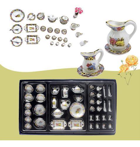 Juego de cubiertos de cerámica en miniatura con diseño de