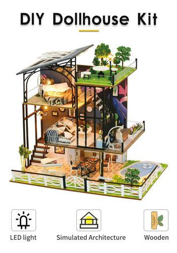 Kit de casa de muñecas diy muebles de cabaña en miniatura