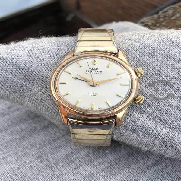 Reloj haste alarma cuerda oro swiss vintage hombre