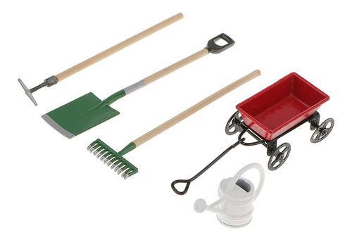 Set de carretilla+herramientas d/jard?n miniatura 1/12 5 pzs