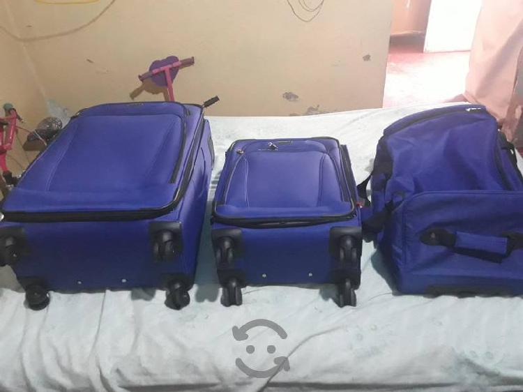 Set de tres maletas de viaje samsonite color azul