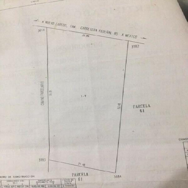 Terreno en venta 1369 m2, hidalgo, tams,ejido estacion la