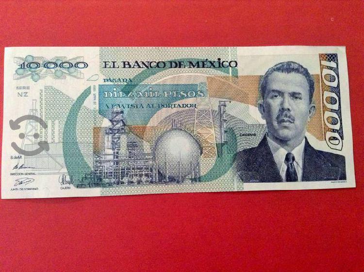 8 billetes lázaro cárdenas 10000 y 10 nuevos pesos
