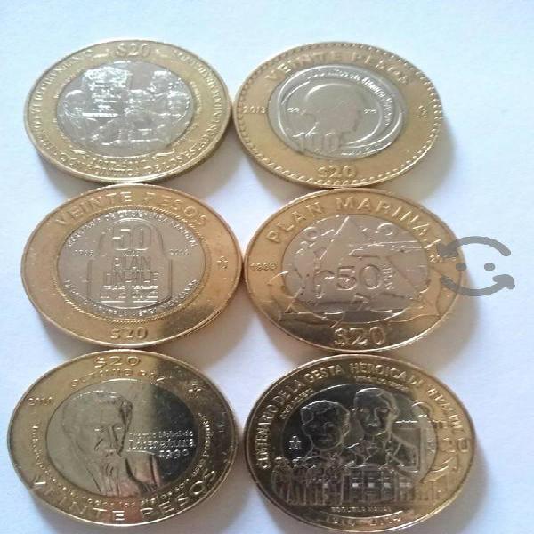 Colección de 6 monedas bimetalicas c/brillo metali