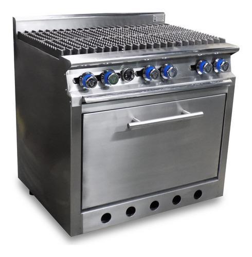 Estufa industrial con horno de 6 quemadores