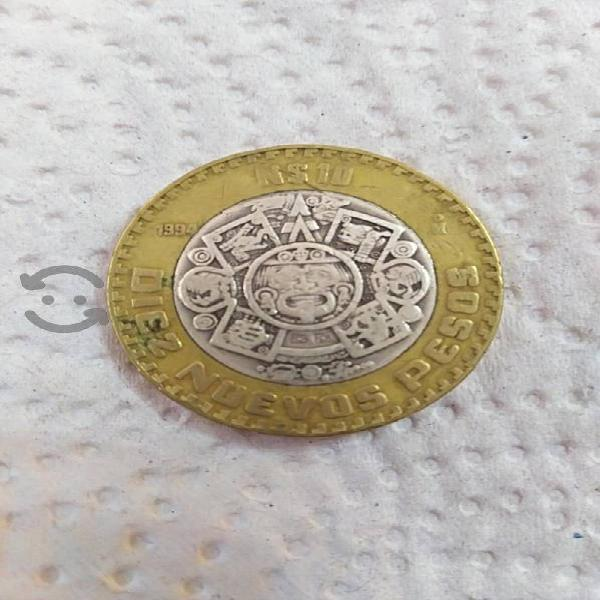 Moneda $10 nuevos pesos centro de plata