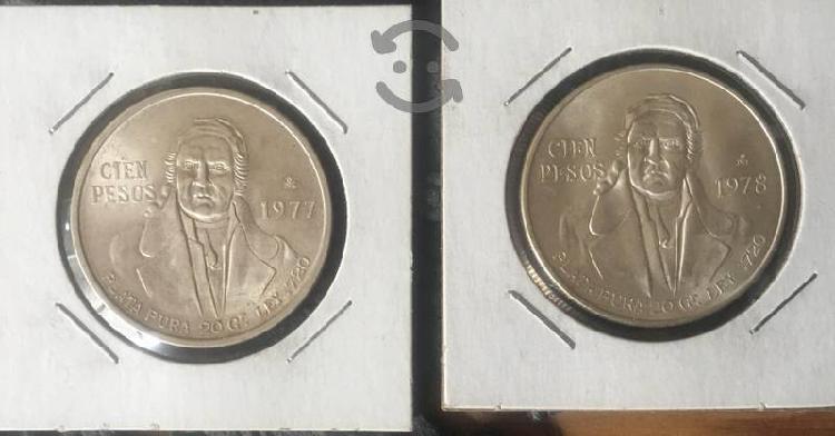 Monedas $100 morelos 1977 y 1978