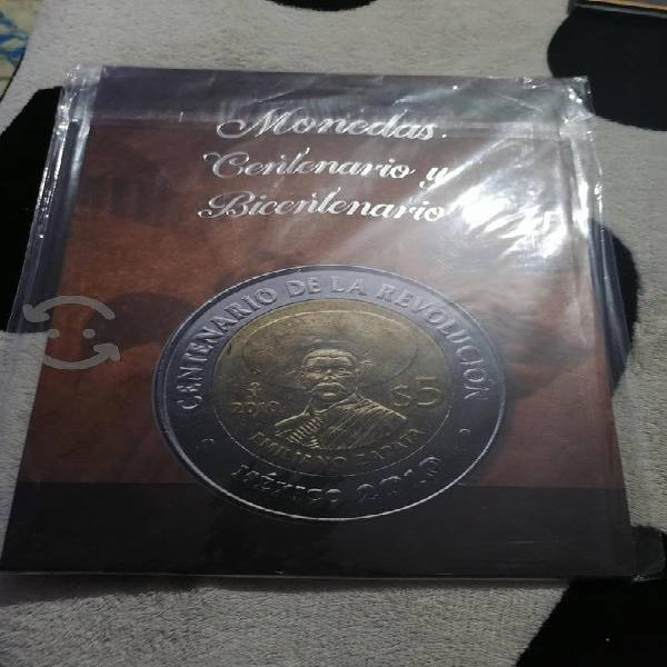 Colección de monedas de 5 pesos centenario y bicen