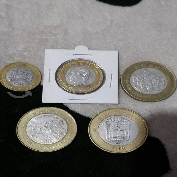 Monedas con centro de plata de 100,50,20 y 10 n/p