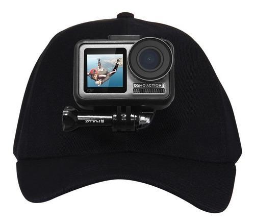 Gorra con montura para cámara gopro dji osmo color negro