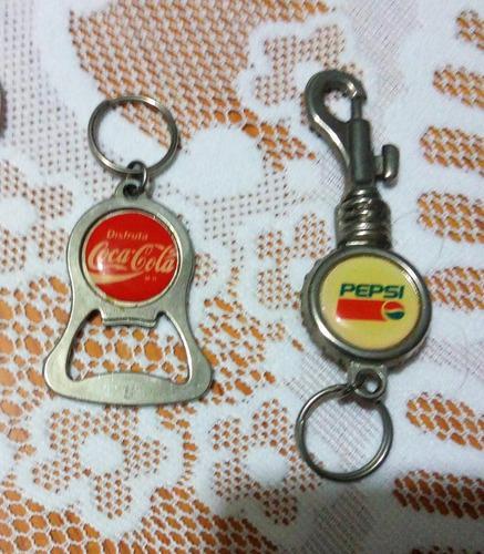 Dos llaveros vintage: coca cola, pepsi. 90's