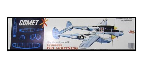 Lockheed p-38 lightning. comet. avión madera balsa