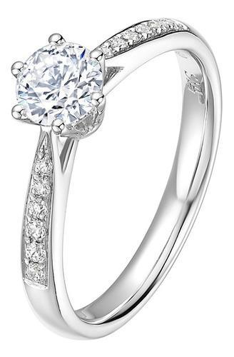 Anillo de boda 925 plata compromiso brillante cubic-zirconia