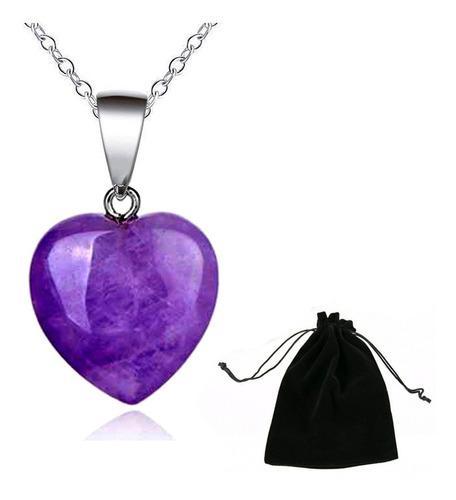 Collar corazon amatista cuarzo piedra chakras yoga love