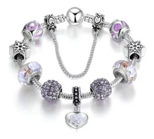 Pulsera de moda mujer flores violeta tendencia regalo