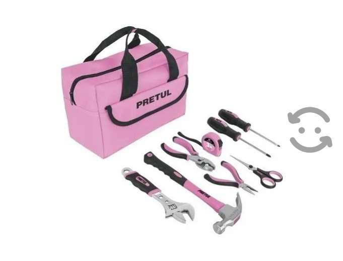 Set de herramientas color rosa 8 piezas pretul con