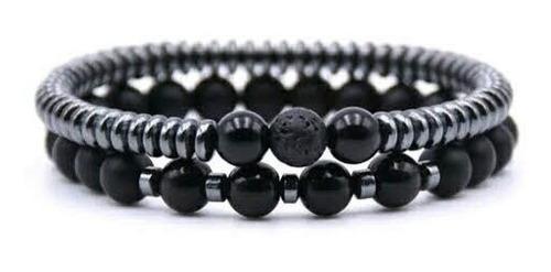 Set pulseras hematitas planas, obsidianas dije piedra turmal