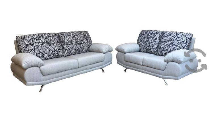 Sala de 2 piezas gris plata/respaldos estampados
