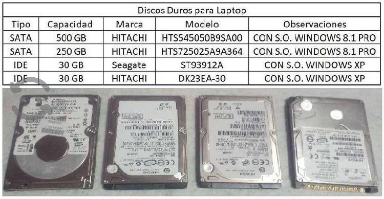 4 Discos Duros de Laptop 500GB, 30GB, 250GB Y 30GB