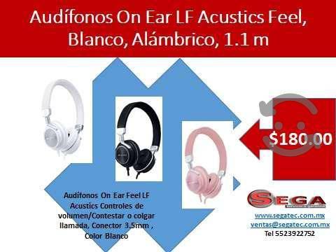 Audífonos on ear lf acustics feel, blanco, alámbri