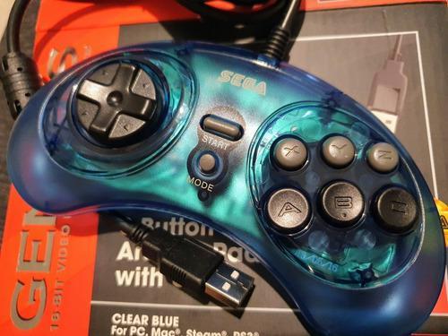 Control sega genesis mini 6 botón usb retro-bit pc/mac azul