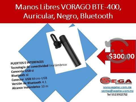 Manos libres vorago bte-400, auricular, negro, blu