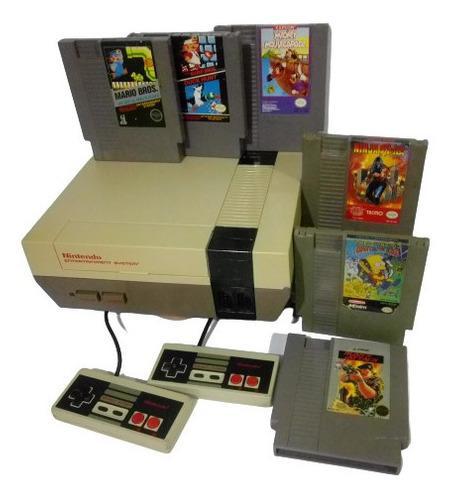 Nintendo nes consola con videojuegos mario bros ninja