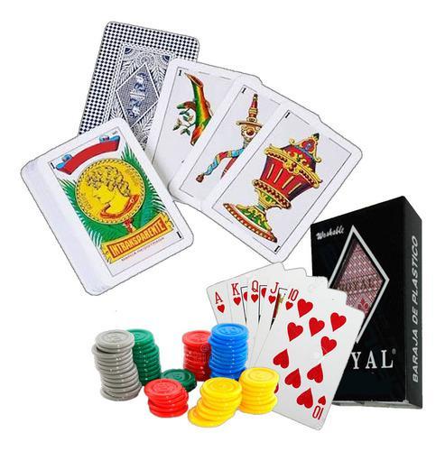 Set de naipes de poker + baraja española + fichas plastico