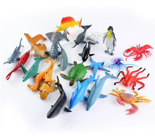 Figuras de animales marinos de plástico, 24 piezas