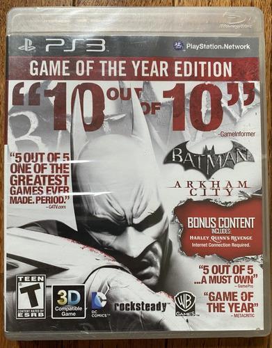 Juego ps3 batman arkham city - edicion game of the year