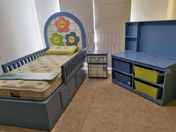 Set cama-cuna organizador cambiador buró 2colchone